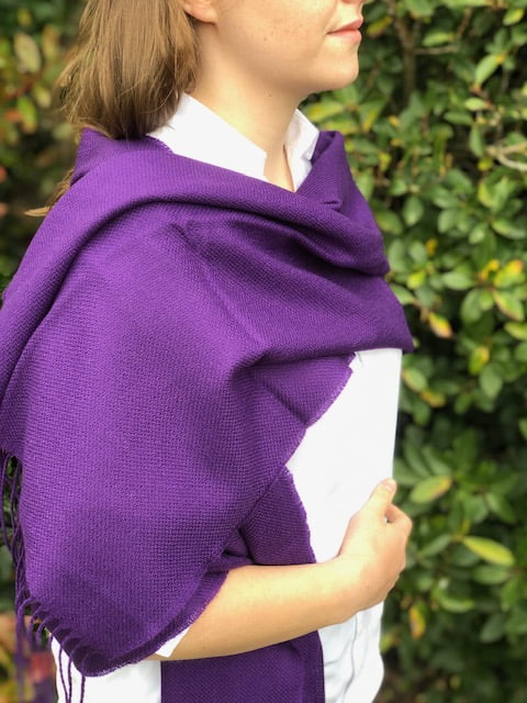 Oversized Merino Scarf Purple