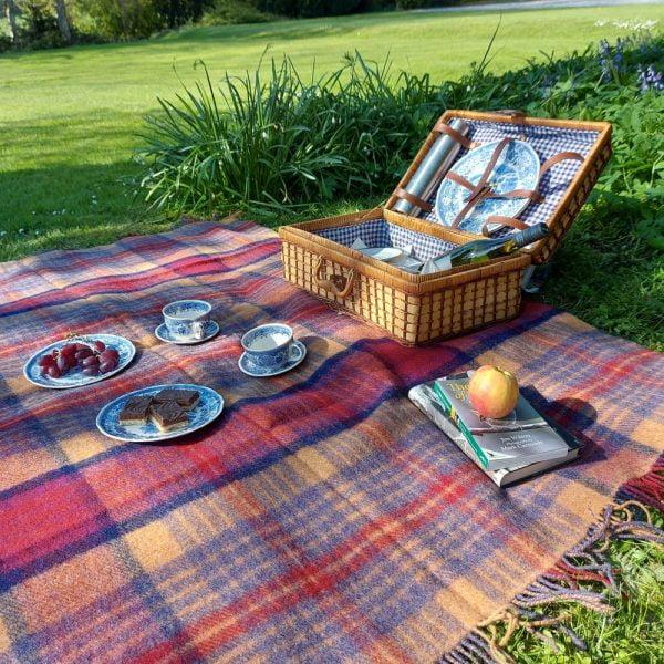 Large Irish Picnic Blanket Maroon Brown Mauve Plaid