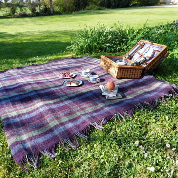 Large Irish Picnic Blanket Navy Purple Green and Denim Plaid