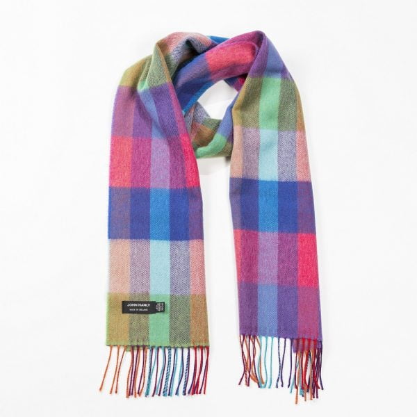 Merino Luxury Wool Scarf Bright Rainbow Mix Small  Block Check