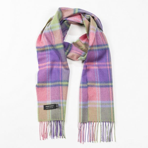 Merino Luxury Wool Scarf Pink Pale Green and Purple Check