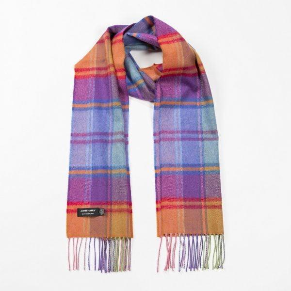 Merino Luxury Wool Scarf Bright Orange Pink and Blue Mix Check