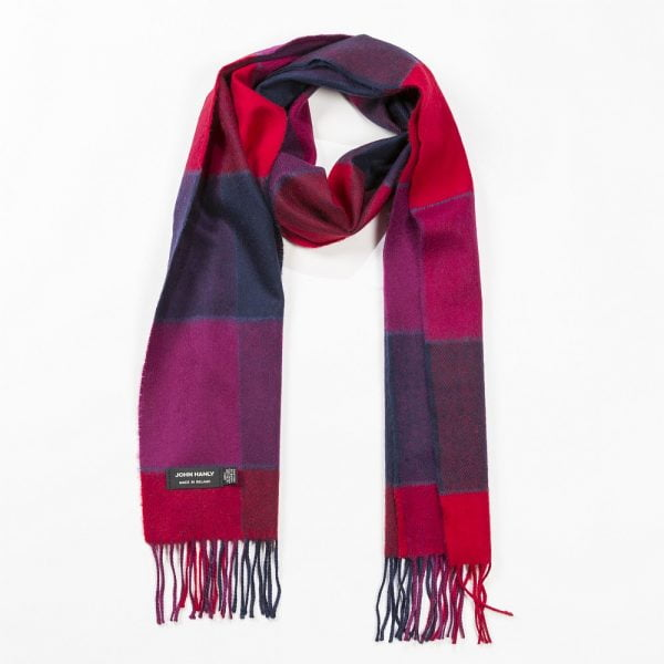 Merino Luxury Wool Scarf Red Pink & Navy Black Check