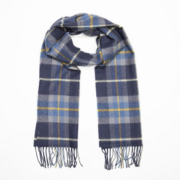 Merino Luxury Wool Scarf Navy Grey Yellow Check