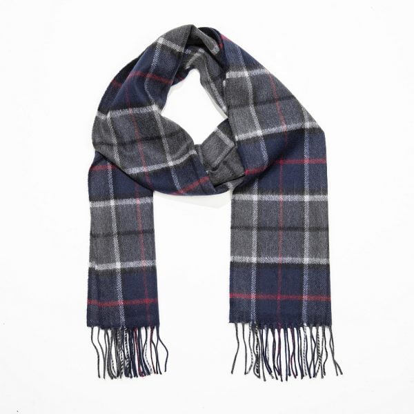 Merino Luxury Wool Scarf Navy GRedy Redd Check