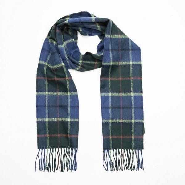 Merino Luxury Wool Scarf Dark Green Blue Lime Check