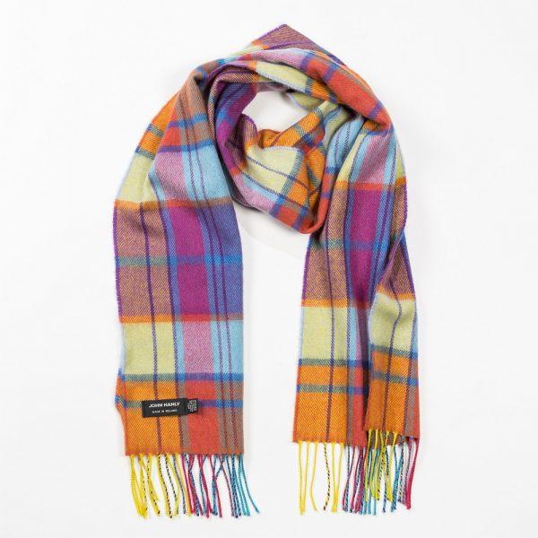 Merino Luxury Wool Scarf Yellow Orange Pink & Blue Tartan