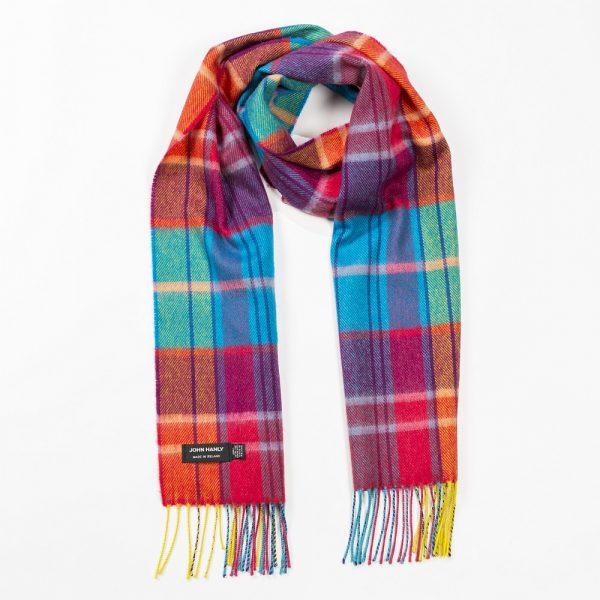 Merino Luxury Wool Scarf Bright Orange Pink and Turquoise Tartan