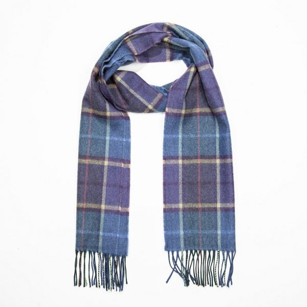 Merino Luxury Wool Scarf Blue Carmel Purple Check