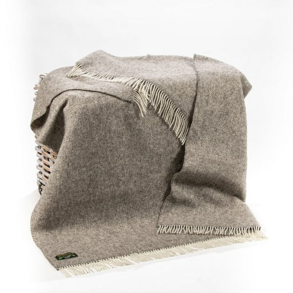 Natural Wool Eco Throw Pale Grey Herringbone