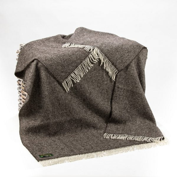 Natural Wool Ecco Throw Dark Grey Herringbone