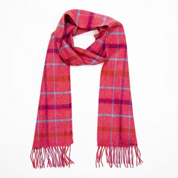 Merino Luxury Wool Scarf Pnk Purple Aqua Check