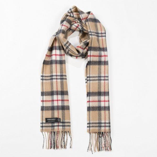 Merino Luxury Wool Scarf Classic Carmel Tartan