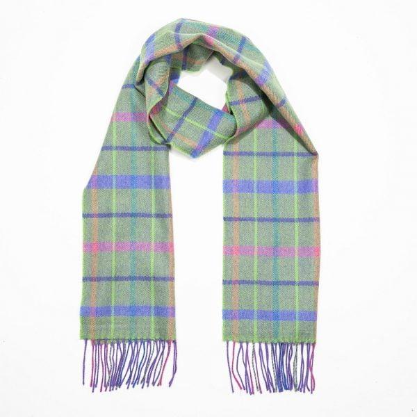 Merino Luxury Wool Scarf. Green Purple Pink Check
