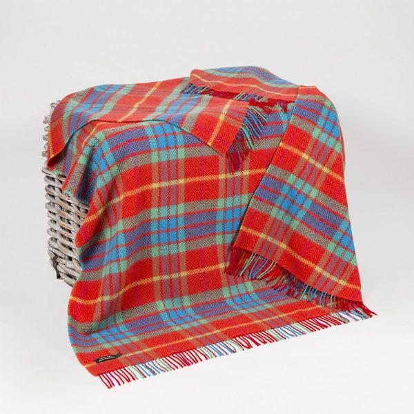Cashmere Throw Bright Red Green & Turqouise Check