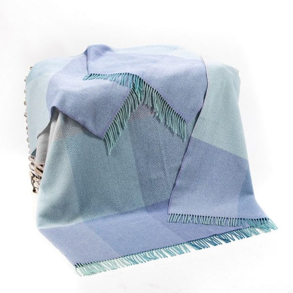 Cashmere Throw Duck Egg Lilac Teal Block Check