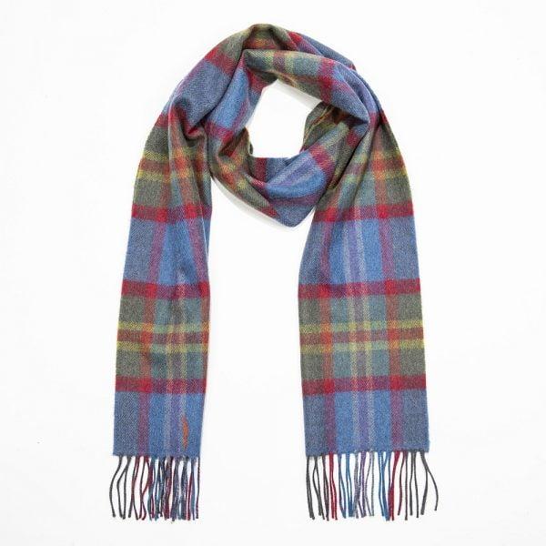Merino Luxury Wool Scarf. Blue Green Red Check