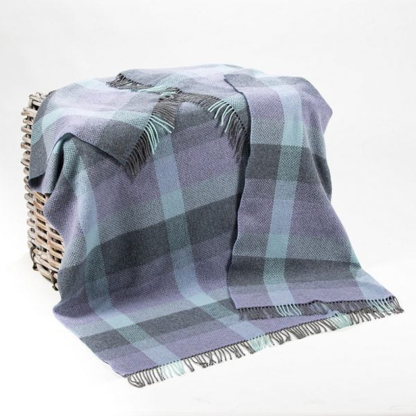 Cashmere Throw Duck Egg Teal Purple Grey Check