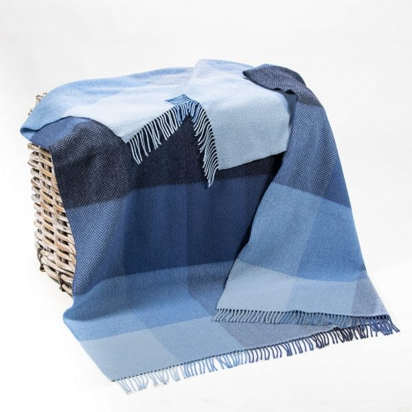 Cashmere Throw Blue Mix Herringbone Block