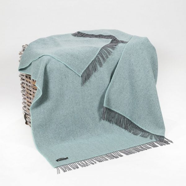 Cashmere Throw Duck Egg Herringbone