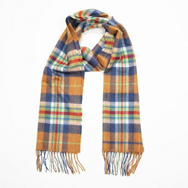 Merino Luxury Wool Scarf Orange NavyGreen Red Check