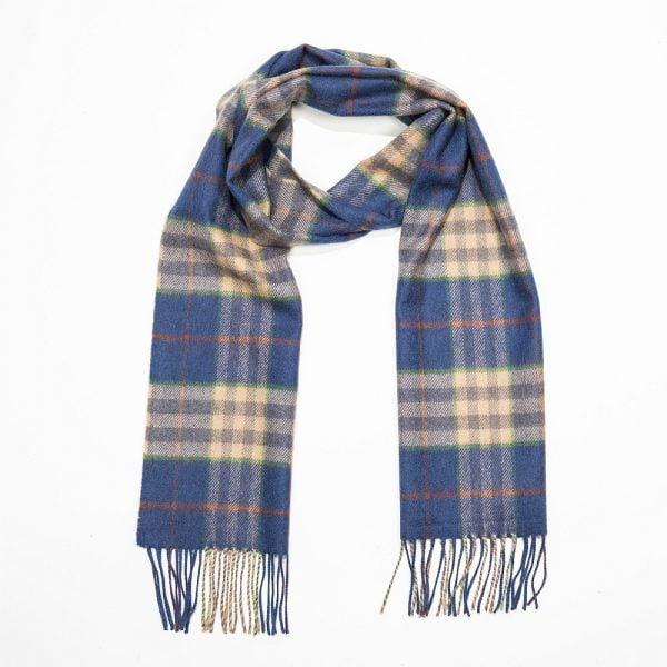 Merino Luxury Wool Scarf.Blue Carmel Rust Check