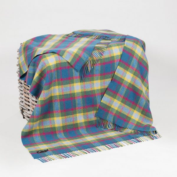 Cashmere Throw Bright Blue Pink, Lime Green & Yellow Check