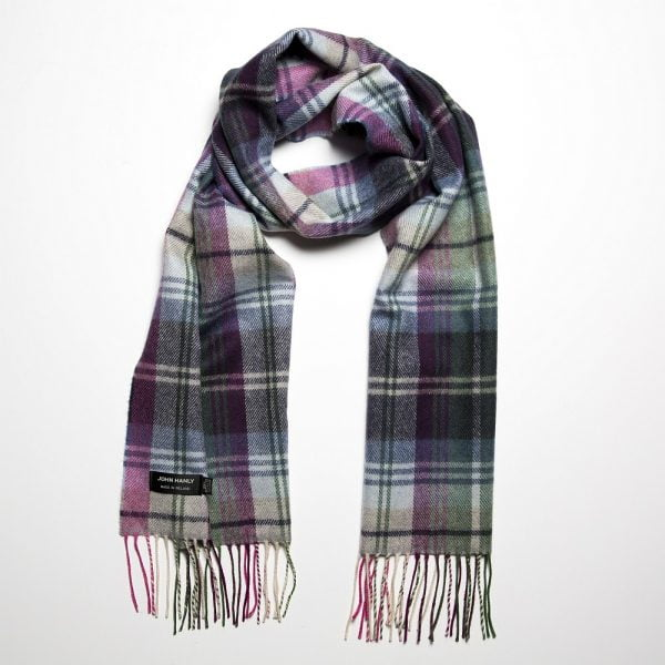 Merino Luxury Wool Scarf Green Blue Pink Plaid