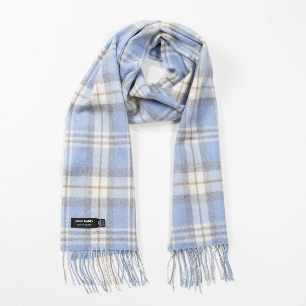 Merino Luxury Wool Scarf Baby Blue Cream and Cream Check