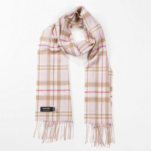 Merino Luxury Wool Scarf Baby Pink White Check