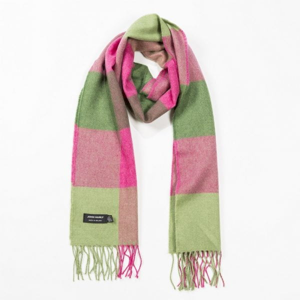 Merino Luxury Wool Scarf Pink Green Block