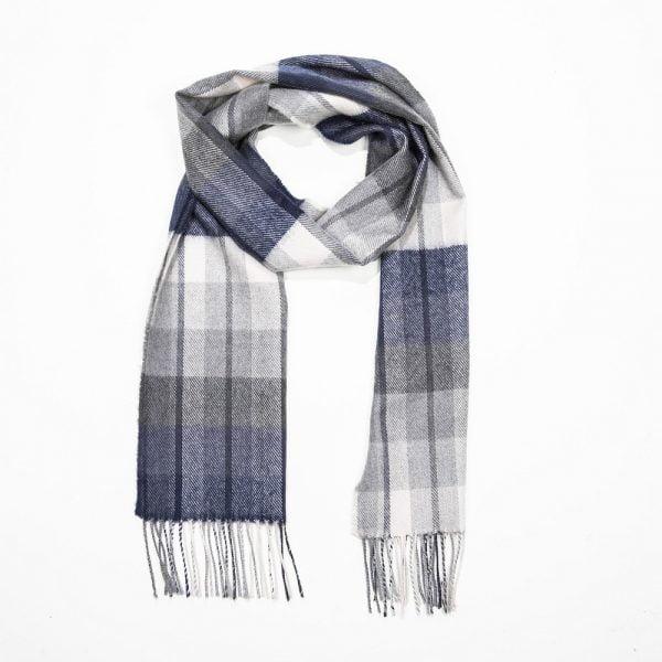 Merino Luxury Wool Scarf. Grey White Navy Check