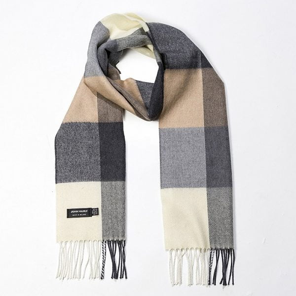 Merino Luxury Wool Scarf Cream Brown & Black Block Check