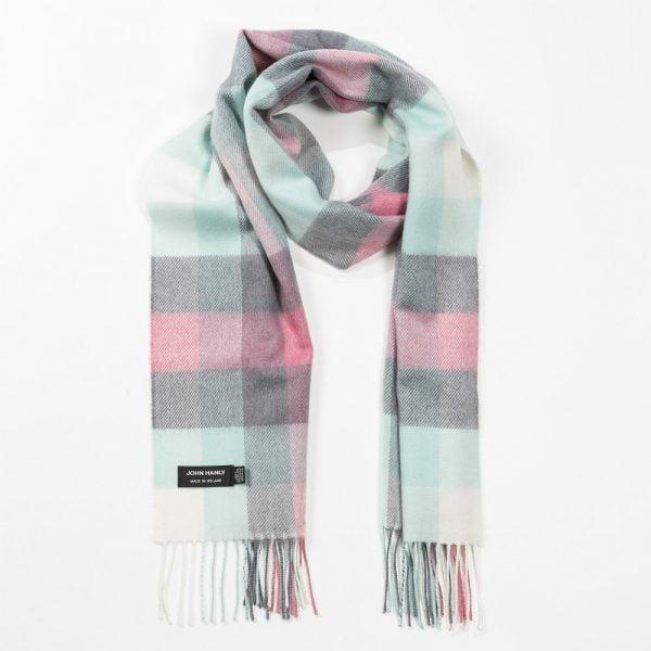 Merino Luxury Wool Scarf Aqua Grey Cream & Pink Block Check