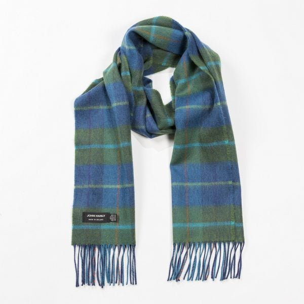 Merino Luxury Wool Scarf Denim Green Check