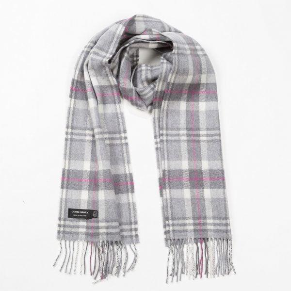 Merino Luxury Wool Scarf Pale Grey White & Pink Check