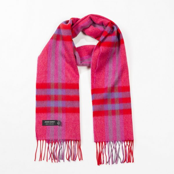 Merino Luxury Wool Scarf Pink Red Purple Check