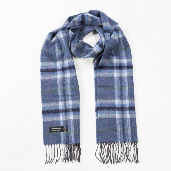 Merino Luxury Wool Scarf Denim Grey Plaid