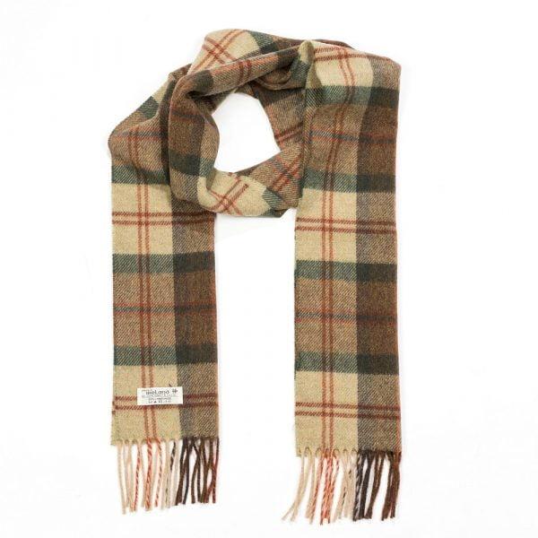 Irish Wool Scarf Long Beige Rust Check