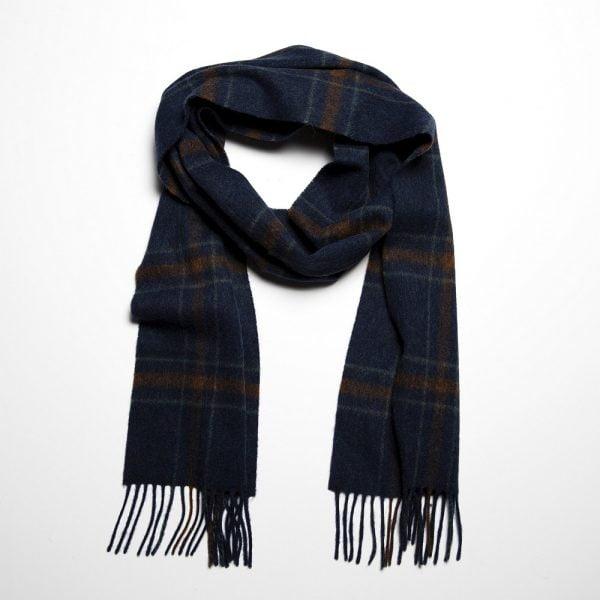 Irish Wool Scarf Long Indigo Rust Check