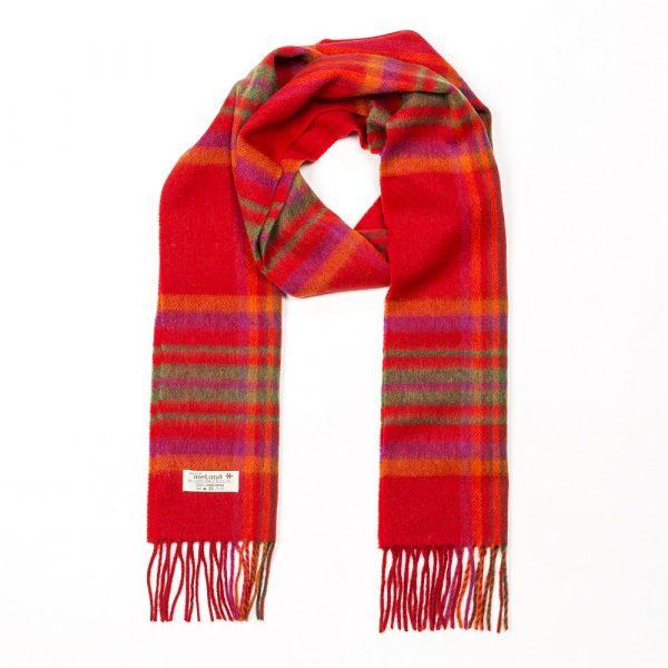 Irish Wool Scarf Long Red Orange Plaid