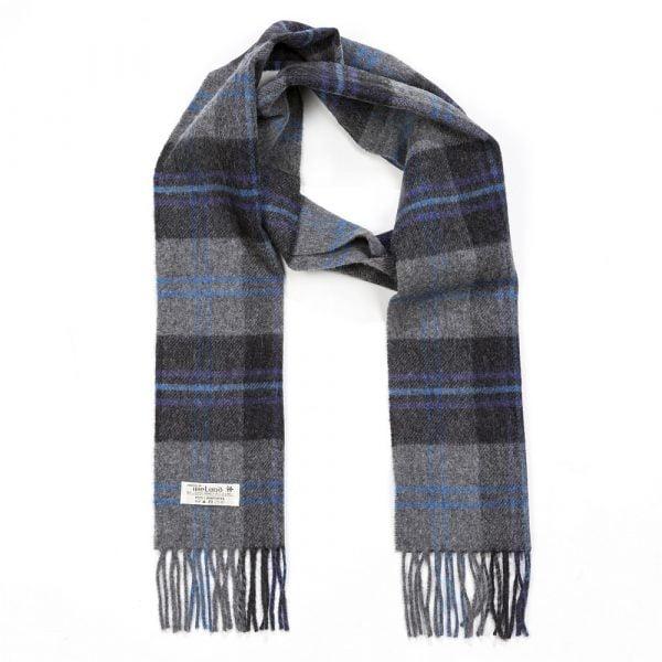 Irish Wool Scarf Long Mid Grey Charcoal Check