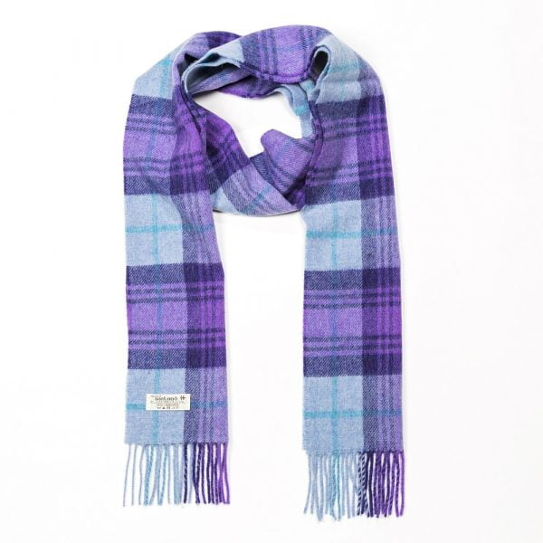 Irish Wool Scarf Long Blue Purple Plaid