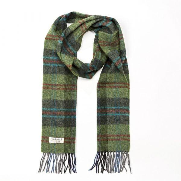 Irish Wool Scarf Long Green Red OverCheck Plaid