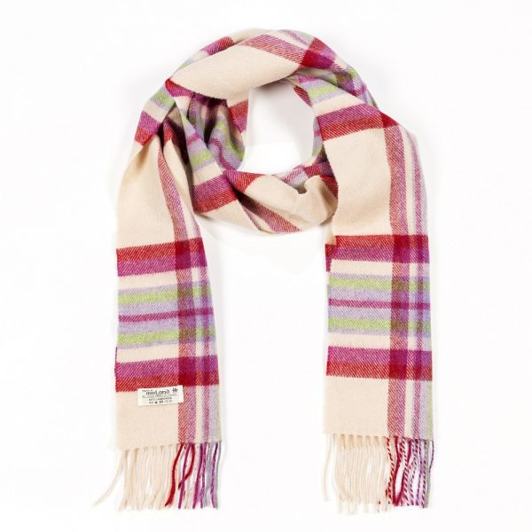 Irish Wool Scarf Long Ecru Purple Heather Plaid