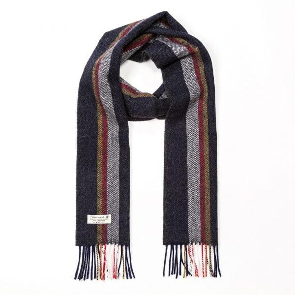 Irish Wool Scarf Long Charcoal Silver Red Mustard Stripe