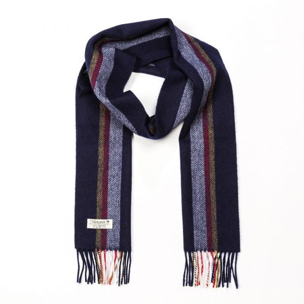 Irish Wool Scarf Long Navy Silver Mustard and Red Stripe