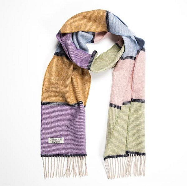 Irish Wool Scarf Long Blue Salmon Mustard Stripe