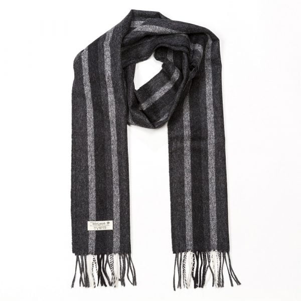 Irish Wool Scarf Long Black and Grey Warp Stripe