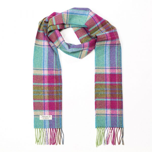 Irish Wool Scarf Long Teal, Pink and Lime Green Check Mix
